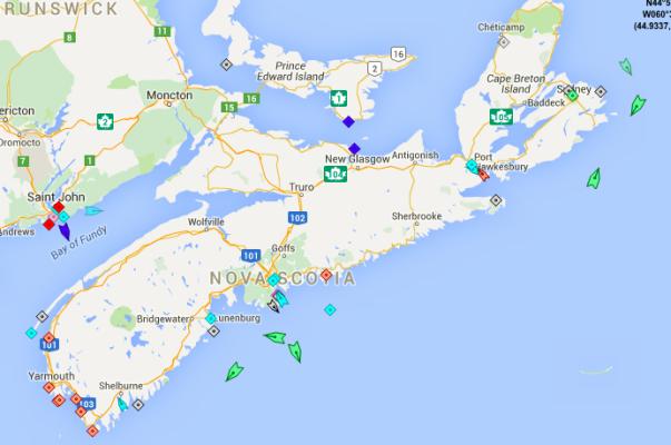 The seas around Nova Scotia, 9am Monday. Map: marinetraffic.com