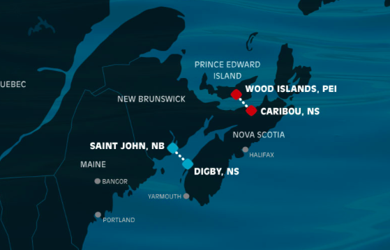 There's not a dotted line between Portland and Yarmouth on the map of Bay Ferries' ferry services on the company's homepage.