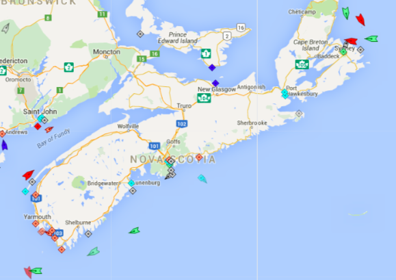 The seas around Nova Scotia, 8;20am Tuesday. Map: marinetraffic.com