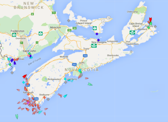 The seas around Nova Scotia, 8:30am Thursday. Note the lobster boats off Yarmouth. Map: marinetraffic.com
