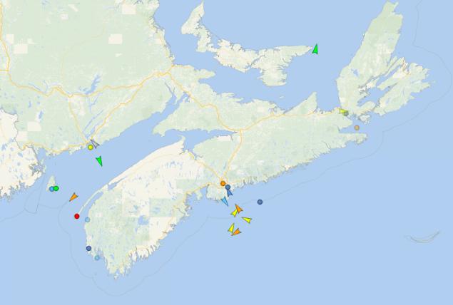 The seas around Nova Scotia, 9:10am Wednesday. Map: vessel finder.com