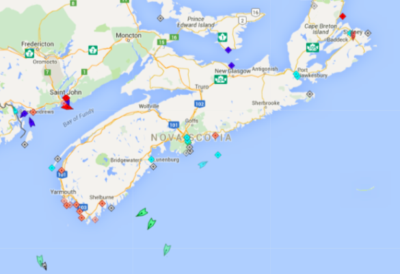 The seas around Nova Scotia, 8:20am Thursday. Map: marinetraffic.com