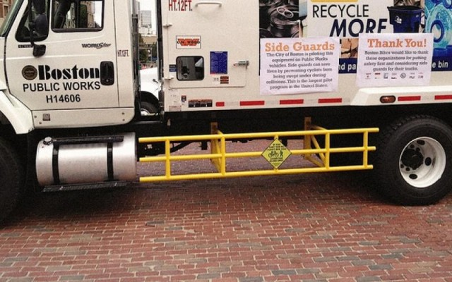 The city of Boston made truck side guards mandatory on all city-contracted trucks in 2015.