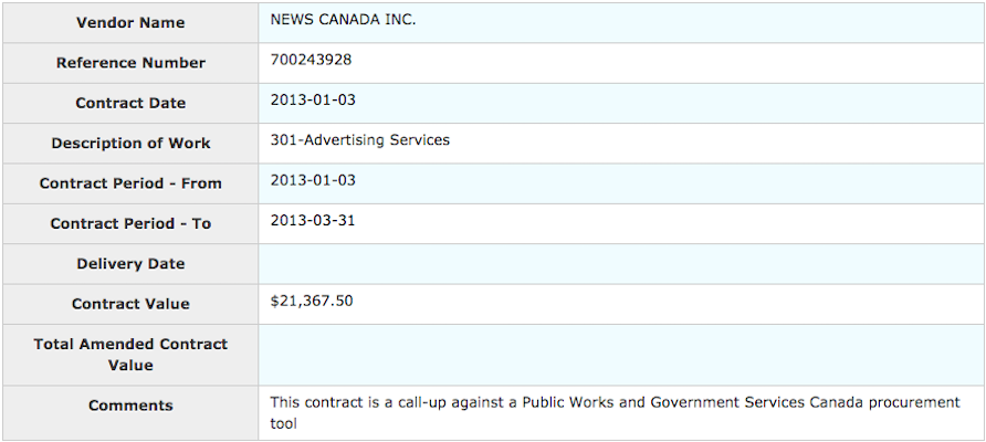 Details on a 2013 Public Works and Government Services contract with News Canada.