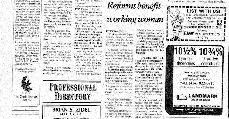 A News Canada-placed story in the Canadian Jewish News; September 5, 1985; Pg. 54. Scan via Multicultural Canada.