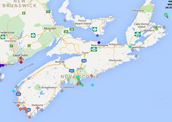 The seas around Nova Scotia, 9am Friday. Map: marinetraffic.com