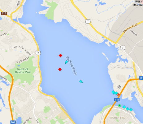 Activity in the Bedford Basin, 8:20am Tuesday. The tanker Elka Elefsis (top red square) prepares to move to Imperial Oil. The nearby blue boat is the tugboat Atlantic Fir. Sailing off is the Chebucto Pilot, having already dropped off the pilot for the move. The tanker Ajax (lower red ship) is at anchorage nearby. Map: marinetraffic.com