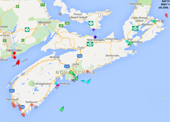 The seas around Nova Scotia, 8:35am Friday. Map: marinetraffic.com