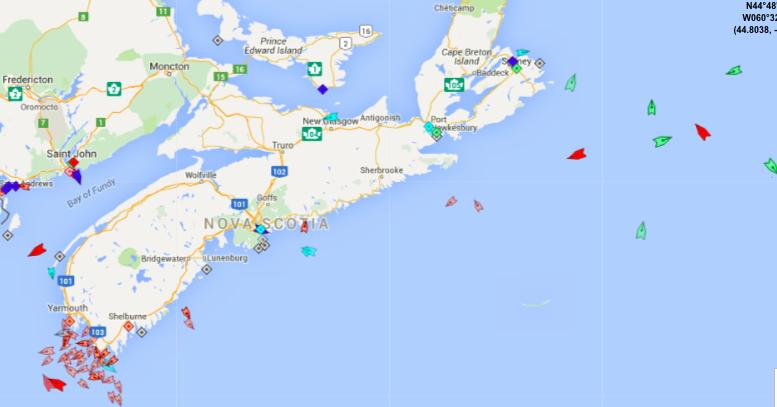 The seas around Nova Scotia, 9am Wednesday. Map: marinetraffic.com