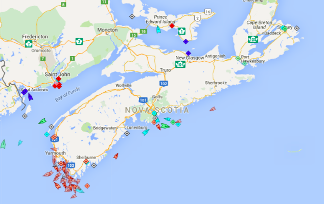 The seas around Nova Scotia, 8:30am Tuesday. Map: marinetraffic.com