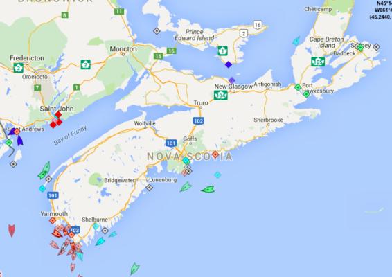 The seas around Nova Scotia, 8:25am Wednesday. Map: marinetraffic.com