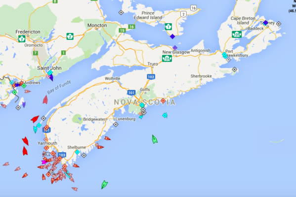 The seas around Nova Scotia, 8:45am Monday. Map: marinetraffic.com