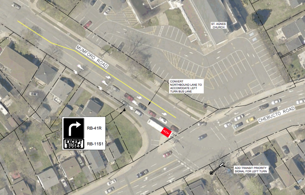 Conceptual layout for proposed changes to Mumford at Chebucto Road, to allow buses to move through the intersection more efficiently.