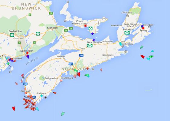 The seas around Nova Scotia, 9:05am Wednesday. Map: marinetraffic.com