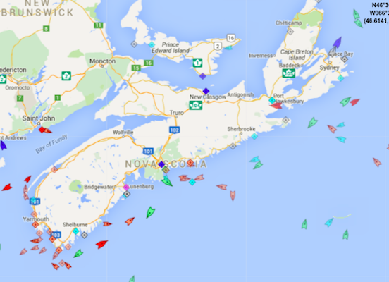 The seas around Nova Scotia, 8:35am Thursday. Map: marinetraffic.com