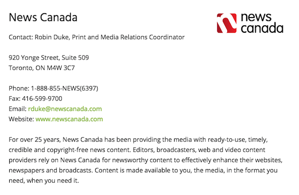 A promotional message for News Canada on the Newspapers Canada website.