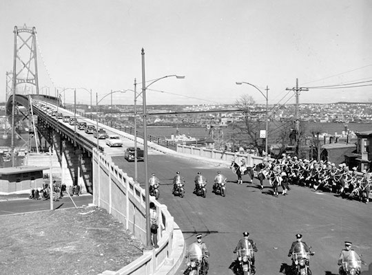 Motorcade inaugurating service on the Macdonald Bridge, April, 1955. Image: Nova Scotia Archives