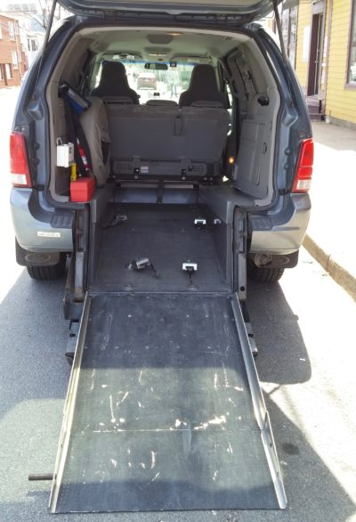 Merati's accessible van loads from the rear. Vans like this can cost 4-5 times what a conventional taxi might cost, which is why Waye Mason has asked for a report to look into ways to assist in purchasing them.
