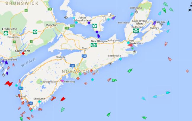 The seas around Nova Scotia, 8:40am Monday. Map: marinetraffic.com