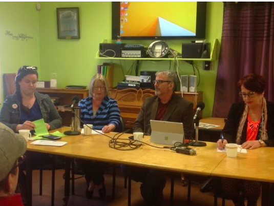 From left to right: Suzanne MacNeil (Solidarity Halifax), Pam Sword (Chronicle Herald), Tim Bousquet and Judy Haiven (Saint Mary's University)