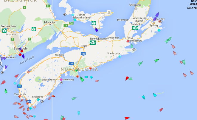 The seas around Nova Scotia, 9am Tuesday. Map: marinetraffic.com