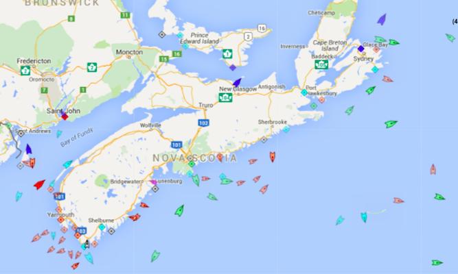 The seas around Nova Scotia, 8:15am Wednesday. Map: marinetraffic.com