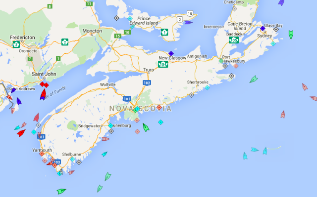 The seas around Nova Scotia, 8am Monday. Map: marinetraffic.com