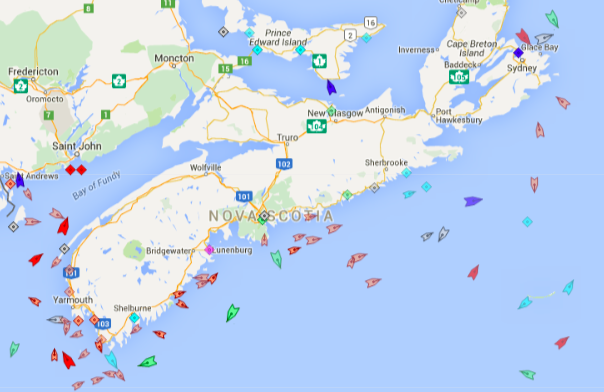 The seas around Nova Scotia, 9am Thursday. Map: marinetraffic.com