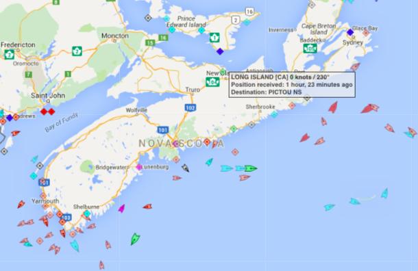 The seas around Nova Scotia, 9:30am Friday. Map: marinetraffic.com