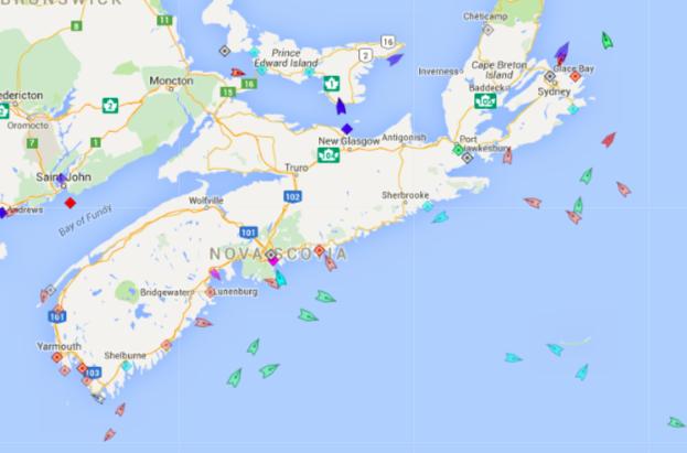 The seas around Nova Scotia, 9:10am Monday. Map: marinetraffic.com