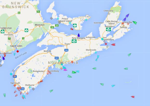 The seas around Nova Scotia, 8:15am Tuesday. Map: marinetraffic.com