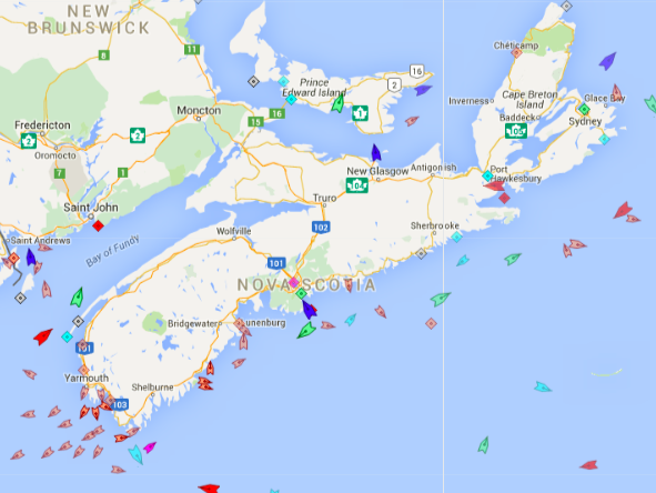 The seas off Nova Scotia, 8:30am Wednesday. Map: marinetraffic.com