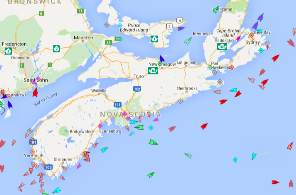 The seas around Nova Scotia, 8:15am Tuesday. Map: marinetraffic.com