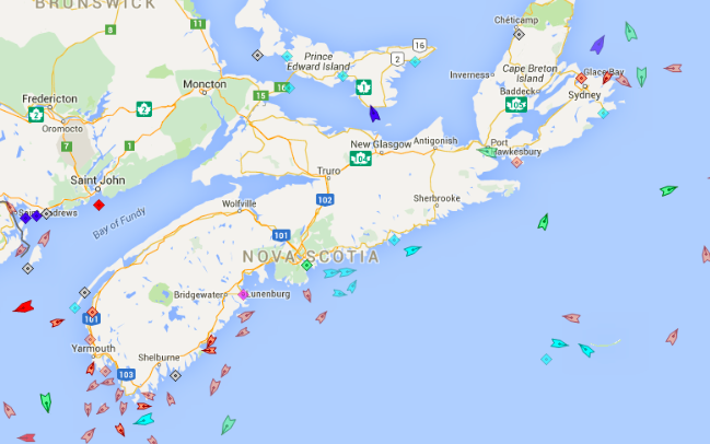 The seas around Nova Scotia, 9am Wednesday. Map: marinetraffic.com