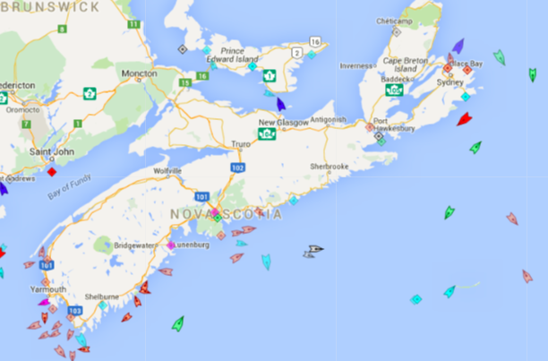 The seas around Nova Scotia, 8:40am Thursday. Map: marinetraffic.com