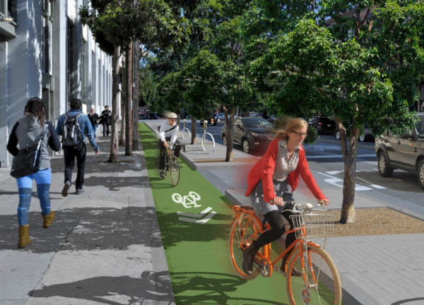 A cycletrack similar to one being proposed by the Halifax Cycling Coalition, which could save parking spaces along South Park.