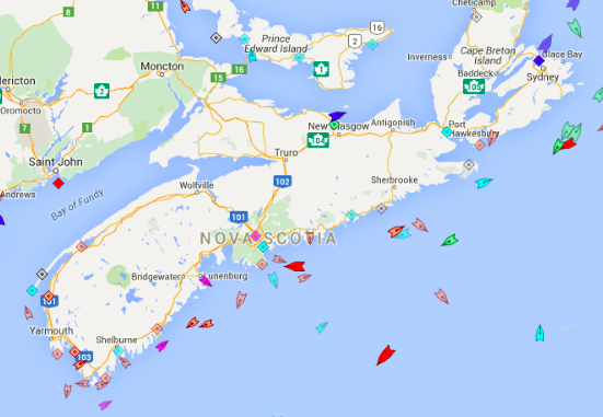 The seas around Nova Scotia, 8:15am Thursday. Map: marinetraffic.com