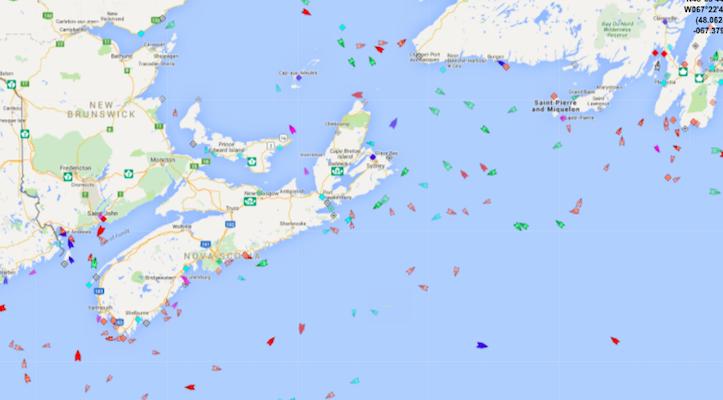 The seas in the Maritimes, 8:15am Friday. Map: marinetraffic.com