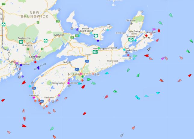 The seas around Nova Scotia, 9:15 Monday. Map: marinetraffic.com