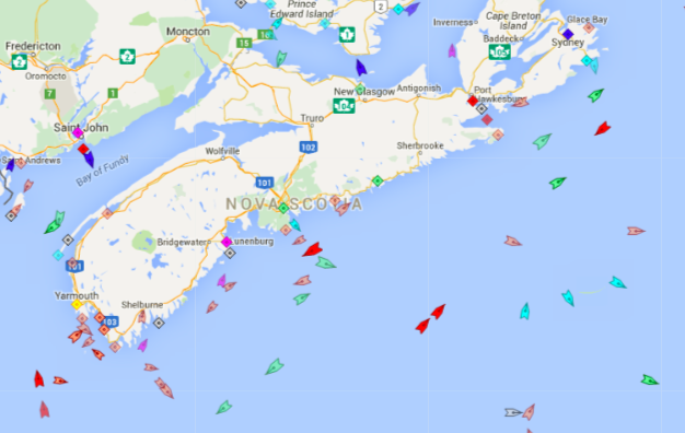 The seas around Nova Scotia, 8:45am Wednesday. Map: marinetraffic.com