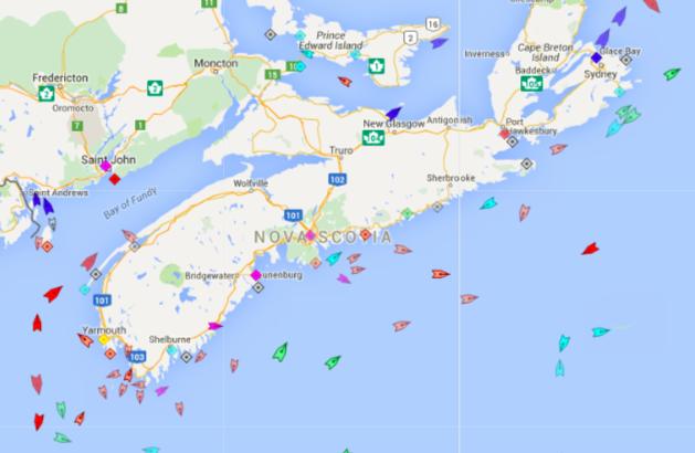 The seas around Nova Scotia, 8:40am Friday. Map: marinetraffic.com