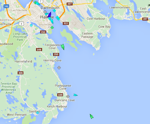 Halifax Harbour, 8:35am Monday. Rio Blackwater is exiting the harbour near McNabs Island, while the pilot boat (blue) is heading out to meet BBC Paula (green, at bottom). Map: marinetraffic.com