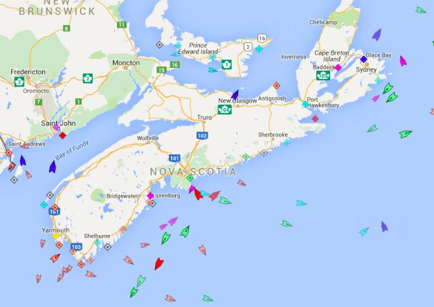 The seas around Nova Scotia, 8:30am Wednesday. Map: marinetraffic.com