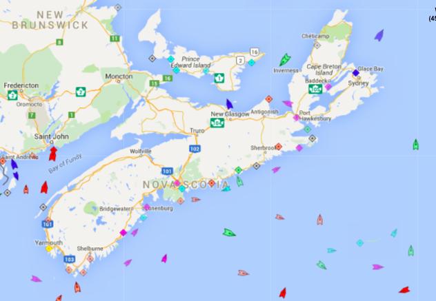 The seas around Nova Scotia, 8:35am Monday. Map: marinetraffic.com