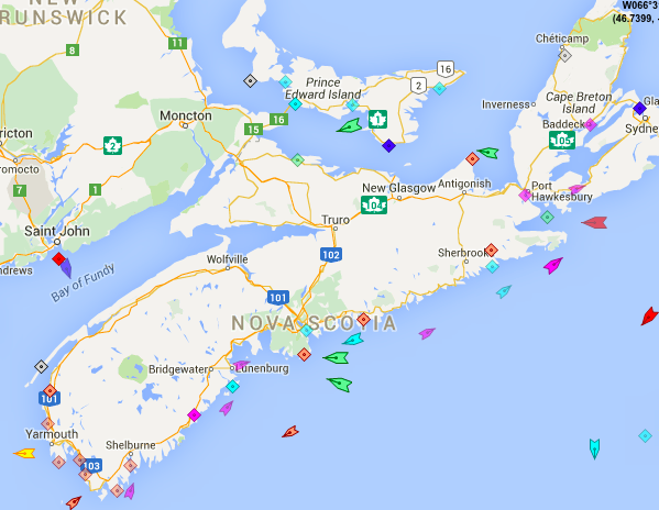 The seas around Nova Scotia, 9:20am Tuesday. Map: marinetraffic.com