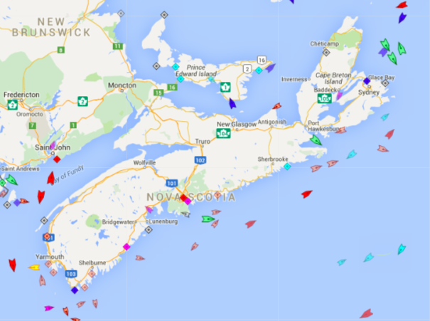 The seas around Nova Scotia, 9am Friday. Map: marinetraffic.com