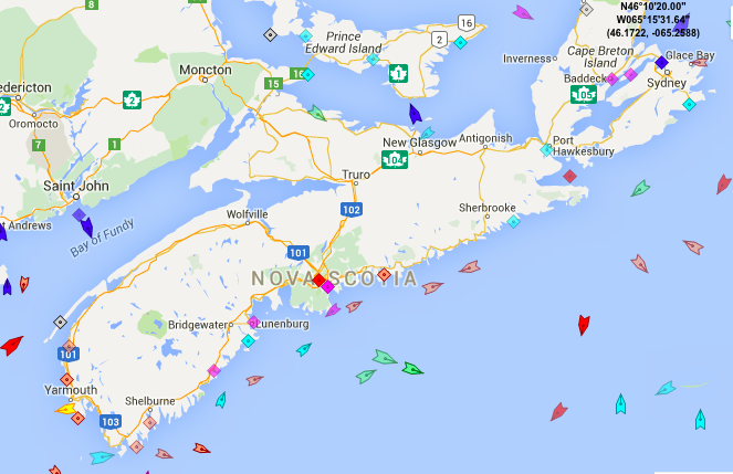 The seas around Nova Scotia, 8:50am Monday. Map: marinetraffic.com