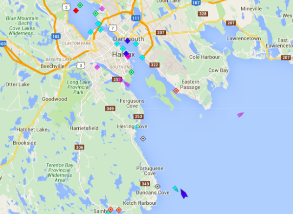 Halifax Harbour, 9am Tuesday. The Chebucto pilot boat (green) meets Carnival Sunshine (blue) so the pilot can guide the cruise ship into town without it hitting a reef, sinking, and killing its 3,006 otherwise happy passengers. Map: marinetraffic.com