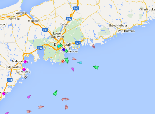 The approach to Halifax Harbour, 9:10am Wednesday. Map: marinetraffic.com
