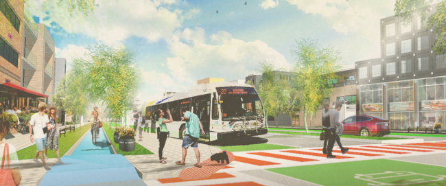 Wyse Road reimagined, with BRT and bike lanes (From thelittleeasy.ca)